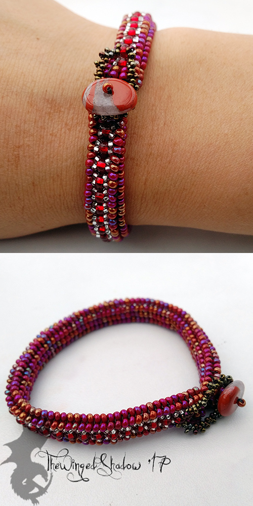 Herringbone Bracelet: Red and Silver by TheWingedShadow