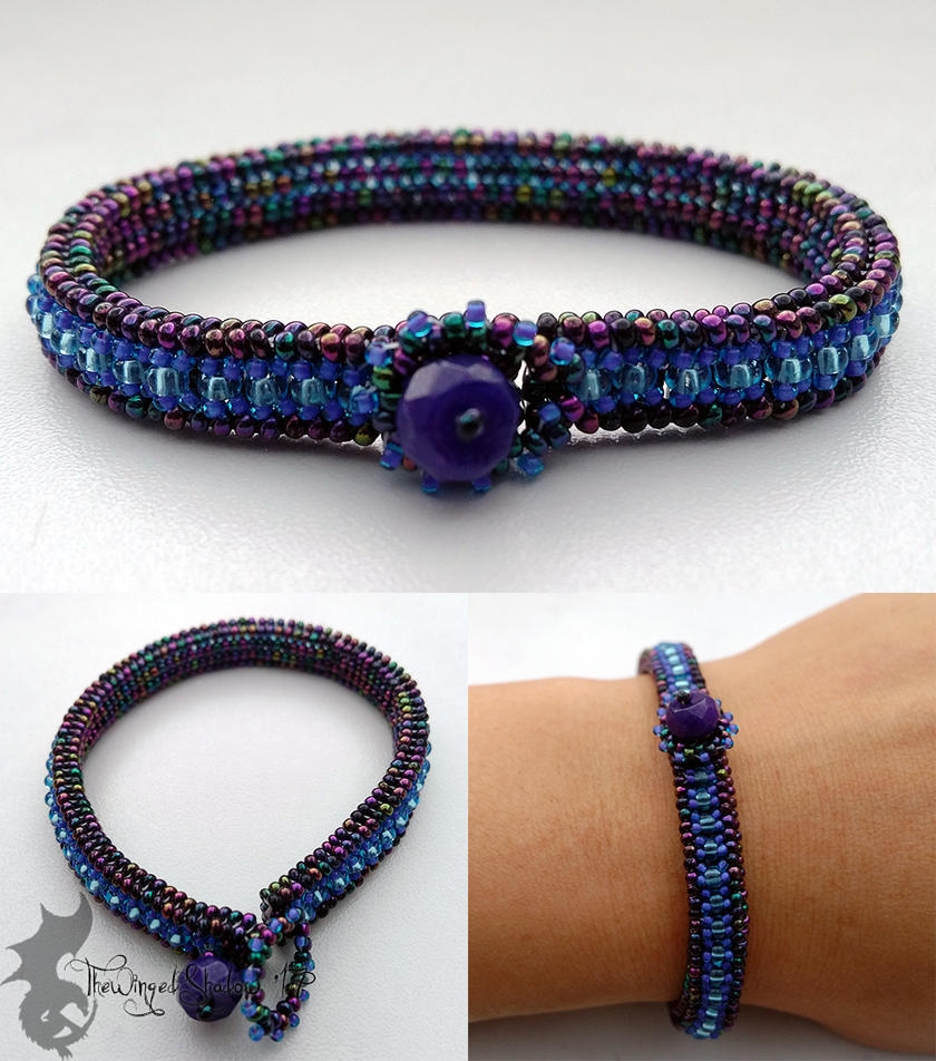 Herringbone Bracelet: Iridescent Blue by TheWingedShadow