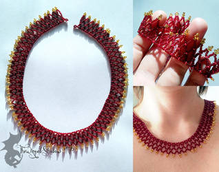 Red and Gold Net Necklace