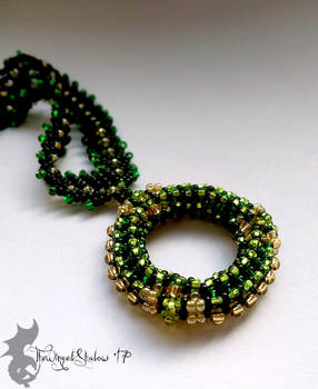 Green and Gold Round Pendant