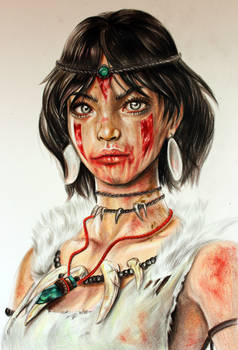 Color Pencil Art - Drawing of a Native American Ch