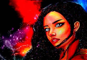 Portrait with Glitter Hair by ZehraAkbulut