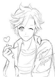 [Sketch] Fanart Yoosung in Mystic messenger by gyomura19