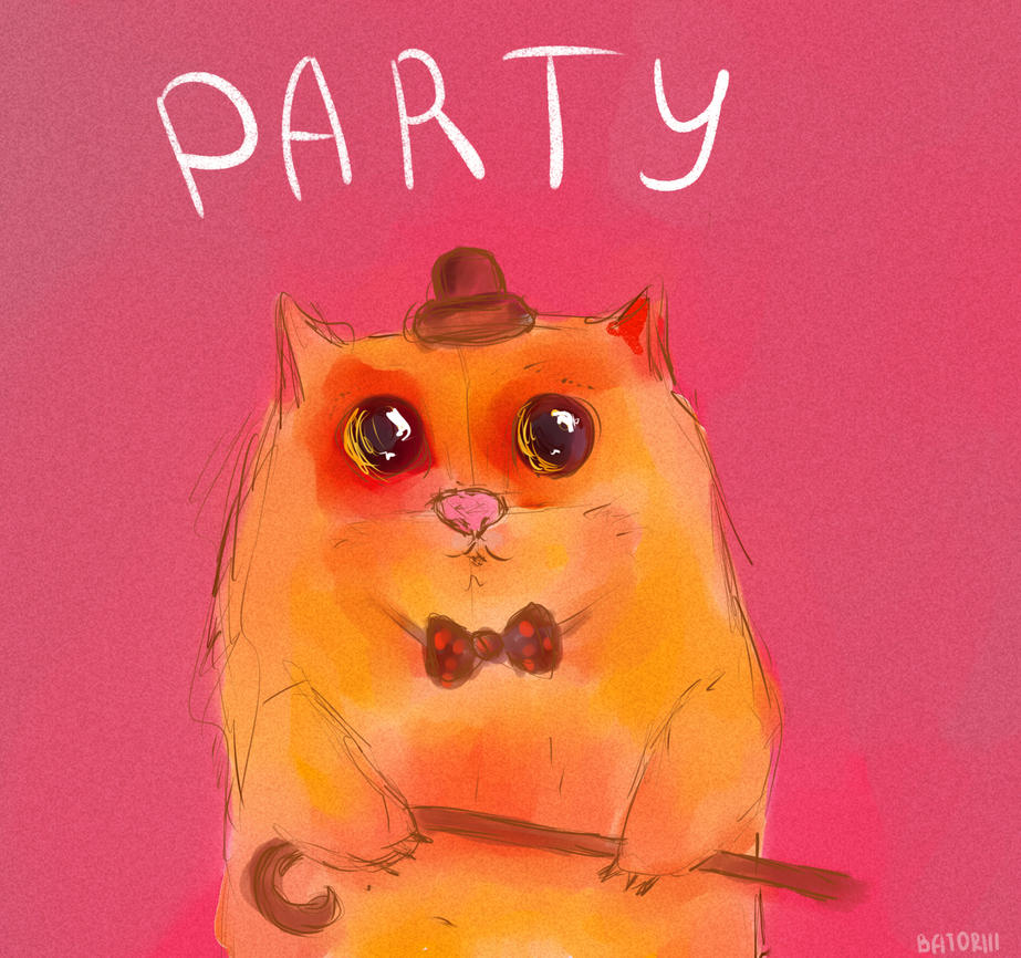 party with an imaginary cat. by batoriii