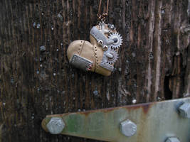Gear Steampunk Heart w/ gear metal screw by Frostwhisker1