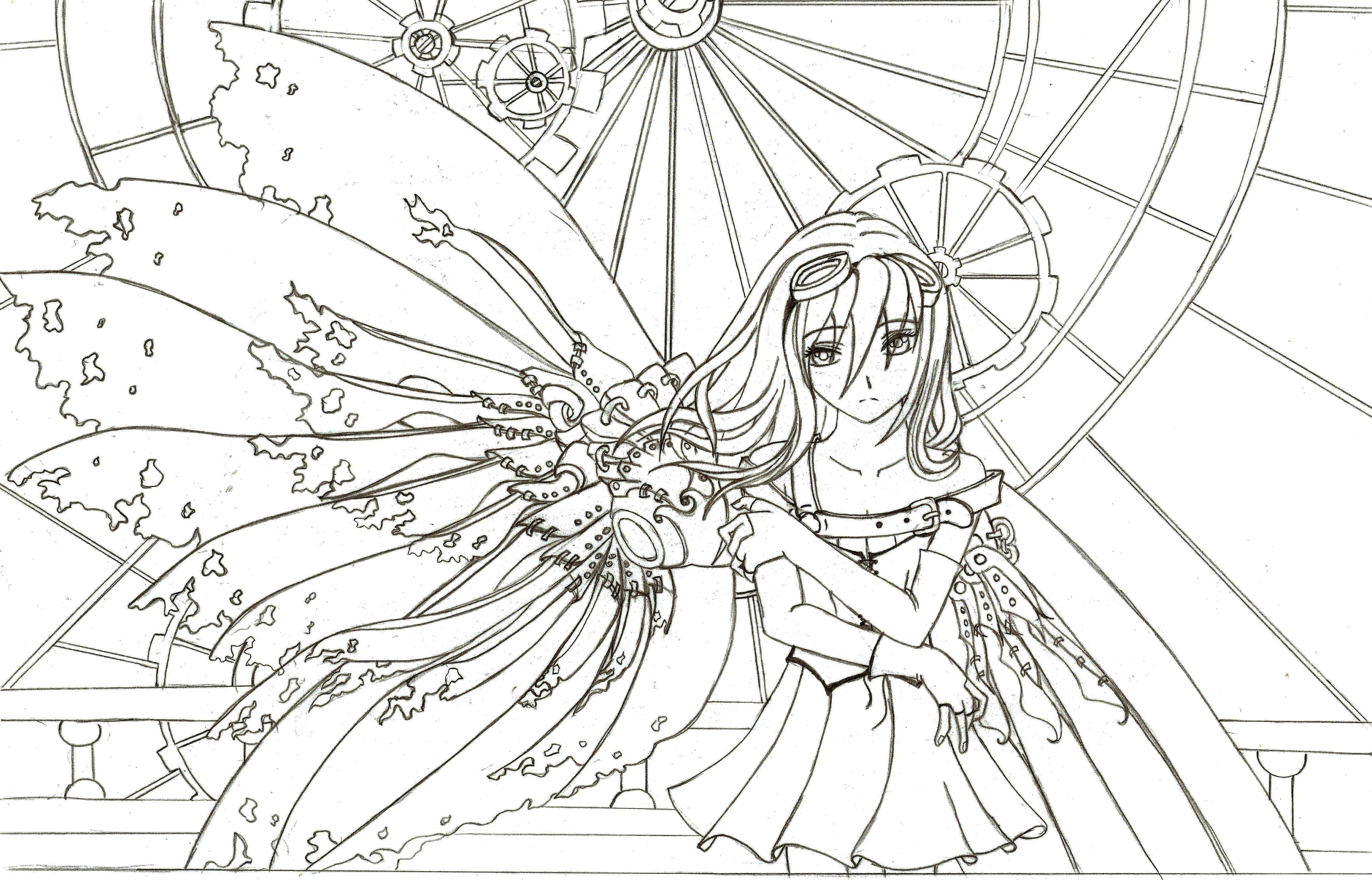 Coloring Lineart : Steampunk fairy lineart by nimmxx on deviantart