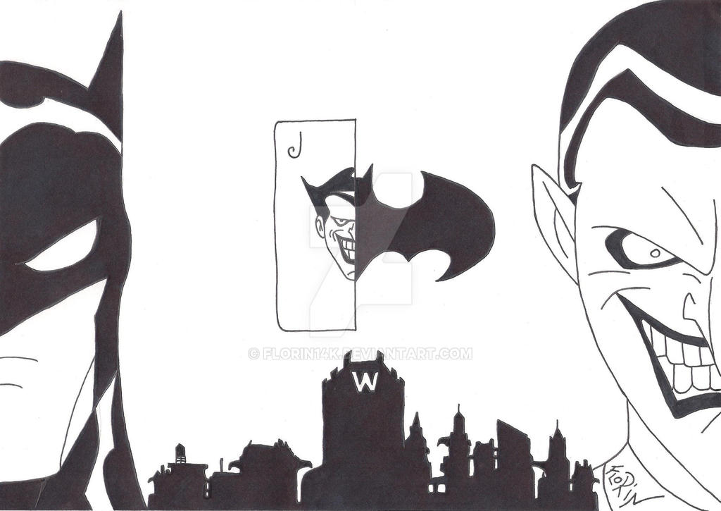 Batman vs Joker ( Black and White ) by Florin14k