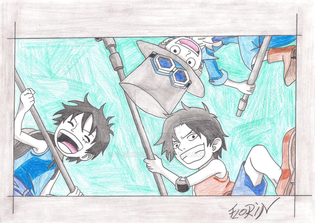 Luffy , Ace and Sabo ( My Color ) by Florin14k
