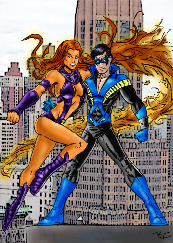 Nightwing and Starfire by RamonVillalobos ...  sc 1 st  DeviantArt : nightwing old costume  - Germanpascual.Com