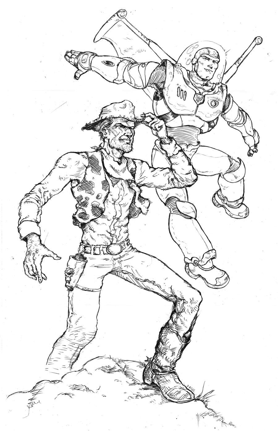 Buzz and Woody by RamonVillalobosWoody And Buzz Drawing