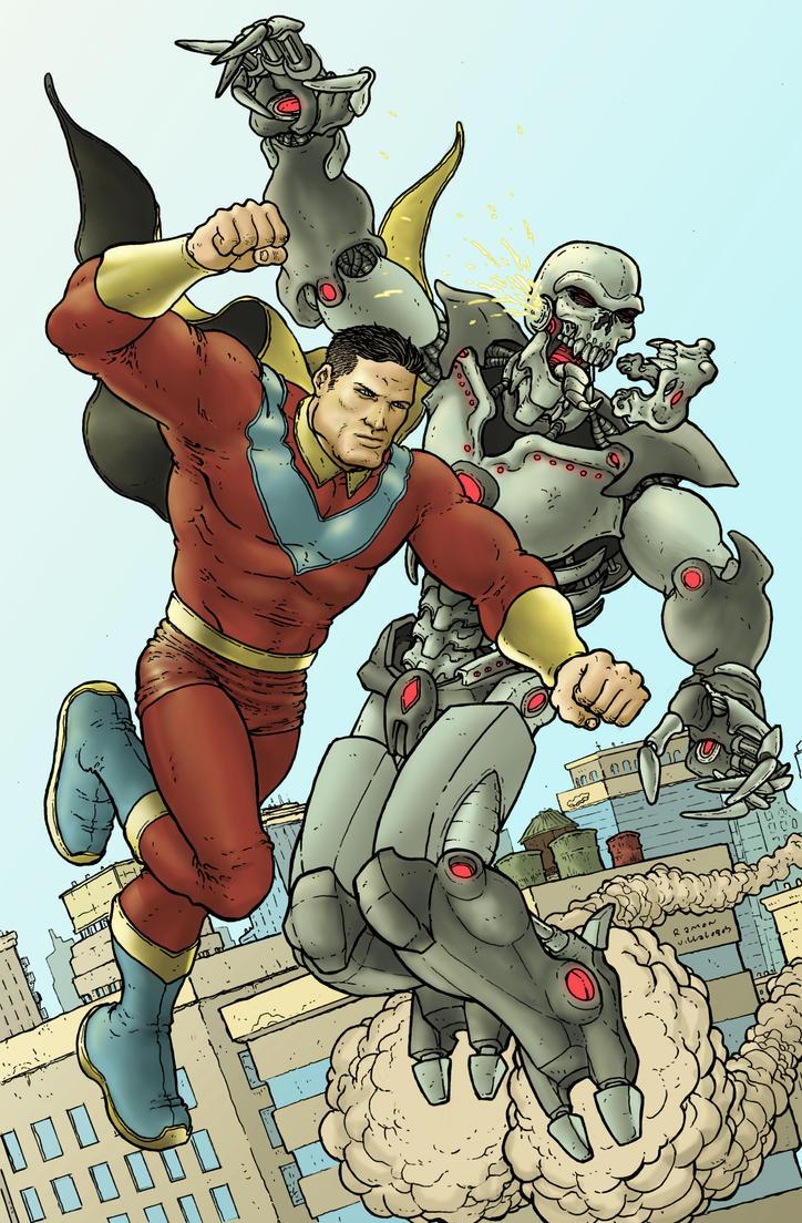 Optiman punches a robot by RamonVillalobos