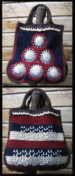 crochet hand bag with can openers