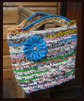crochet plastic hand bag