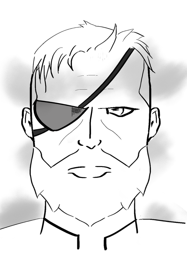Big Boss Black and White Comic Illustration by zroxaszz