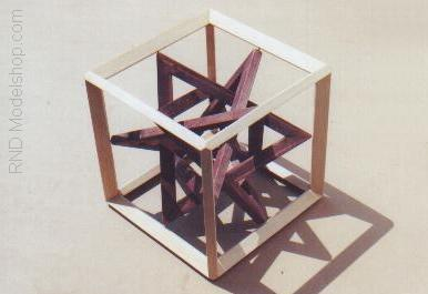 Wood Cube with 4 Triangles by RNDmodels