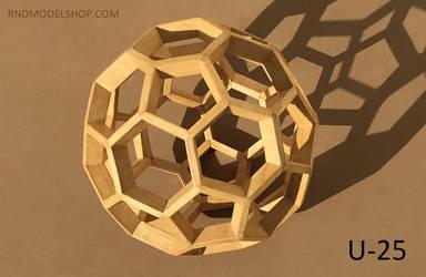 Truncated Icosahedron (U-25) wood model by RNDmodels
