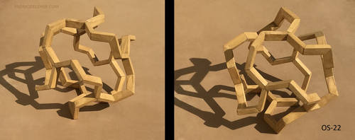 Octahedron with zig zag center sculpture (OS-22) by RNDmodels