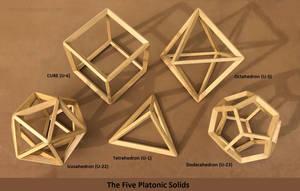 Full Set of Five All Wood Platonic Solids