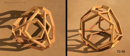 Tetrahedron sculpture of 4 large 4 small Hexagons by RNDmodels