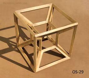 Tesseract Hypercube (OS-29) Wood Model by RNDmodels