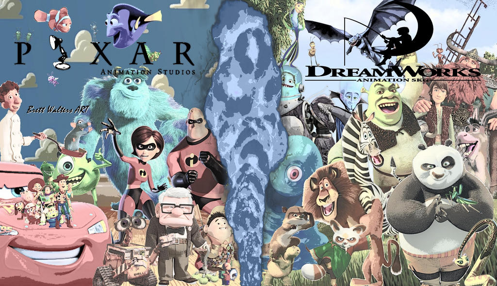 Pixar vs Dreamworks Wallpaper by GeekTruth64