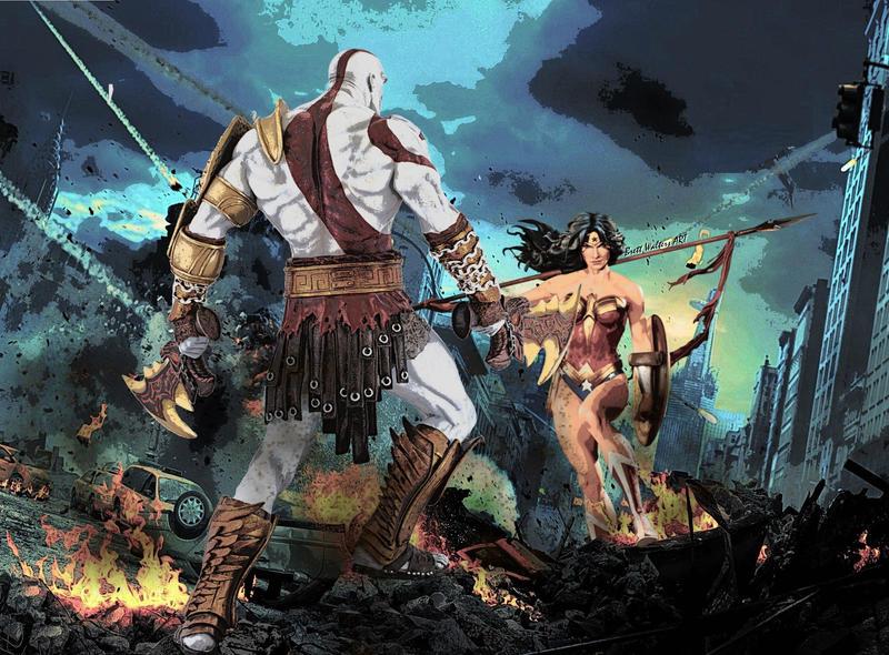 kratos vs wonder woman by geektruth64 on deviantart