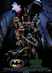 Batman/Ninja Turtles 1990s Movie Poster