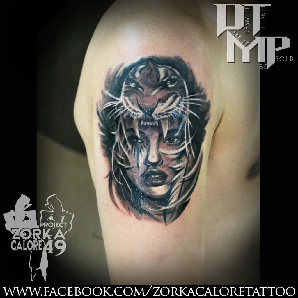 Tiger girl tattoo by zorka calore tattoo by surfboyz12 on for Tiger tattoo for girl