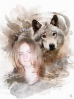 Aquarelle Deborah et loup by cendredelune