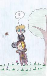 Newt and Kaz catching butterflies