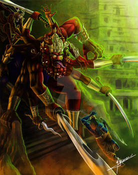 Krshna and Hannuman versus the Ravvanna Demon