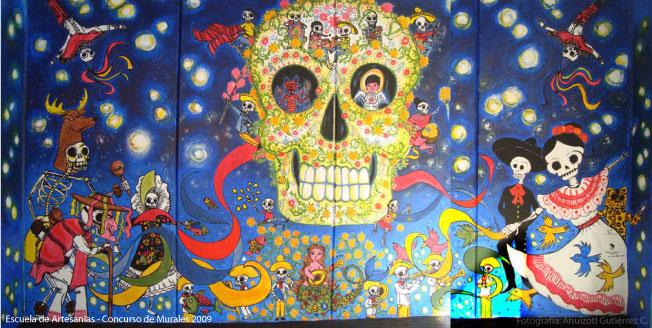 Mural dia de muertos c by ahui tacubaya on deviantart for Dia de los muertos mural