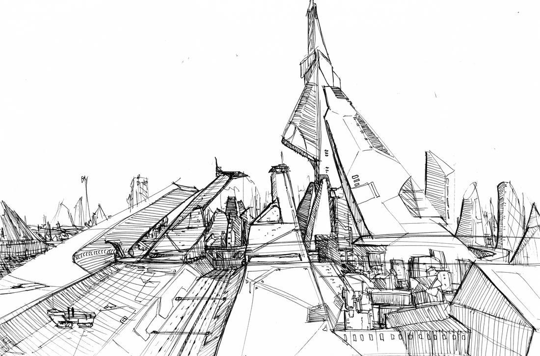 Post cyberpunk city sketch 1 by Phenix1080 on DeviantArt