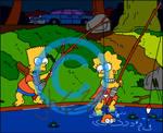 Bart And Lisa Fishing