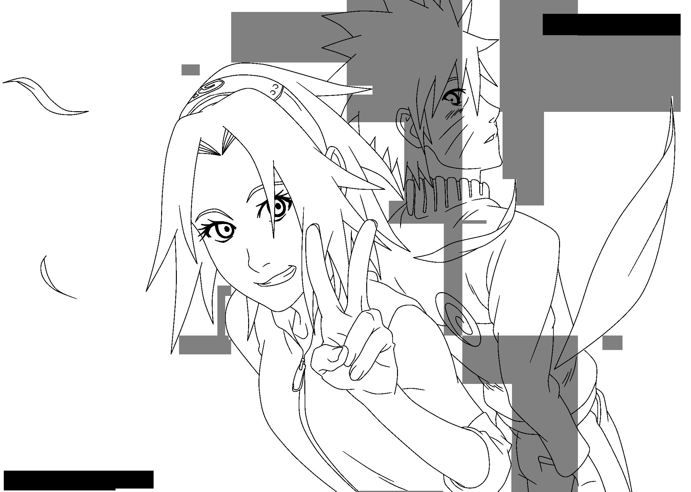 Sasuke and sakura coloring pages coloring pages -  Coloring Pages Sakura And Naruto Lineart By Narutoan98 On Deviantart Sakura_and_naruto_lineart_by_narutoan98