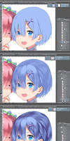 Step-by-Step Coloring Rem Hair by rizihike