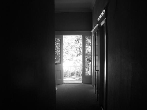 dark room open door
