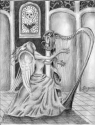 The Gothic Harp Player by Dracfan95