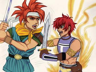 Crono fighting Reid by MiakaLin