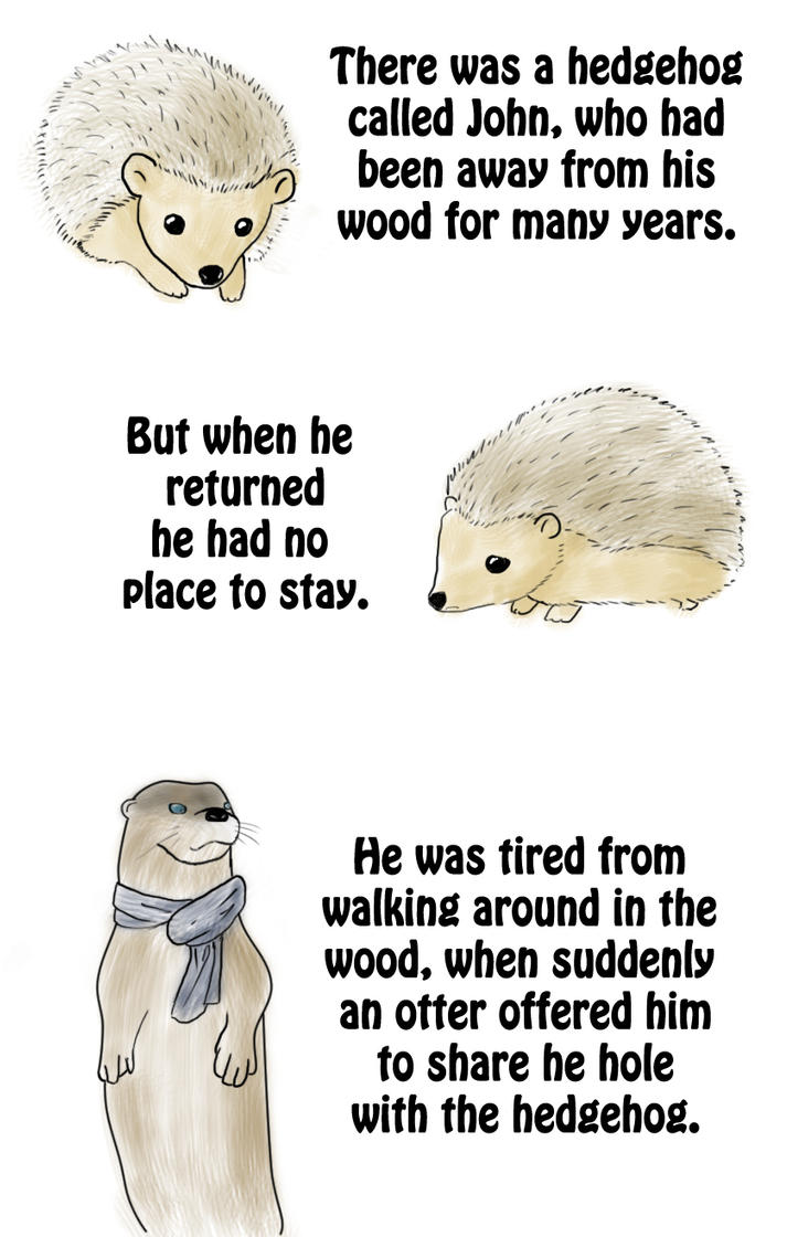 the fairytale of the hedgehog and the otter 1 by kami