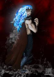 Melkor with flaming hair by Tanbi-no-Kami