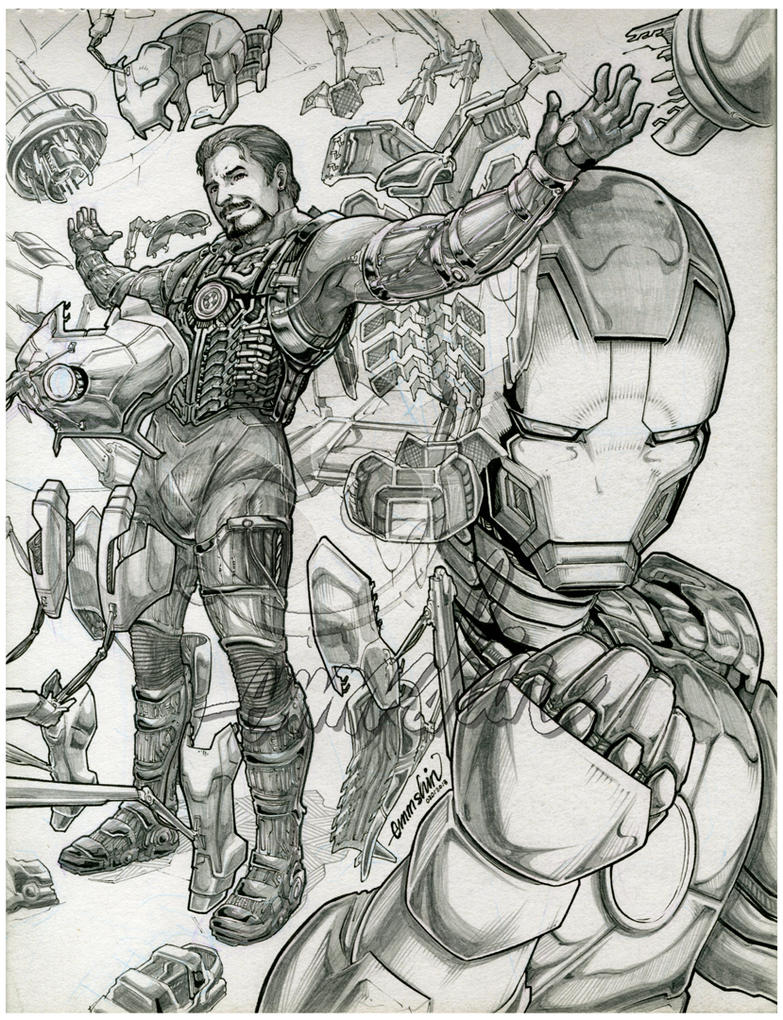 Iron Man :lineart: by emmshin