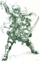 Hit-Girl x Deadpool (pencils) by emmshin