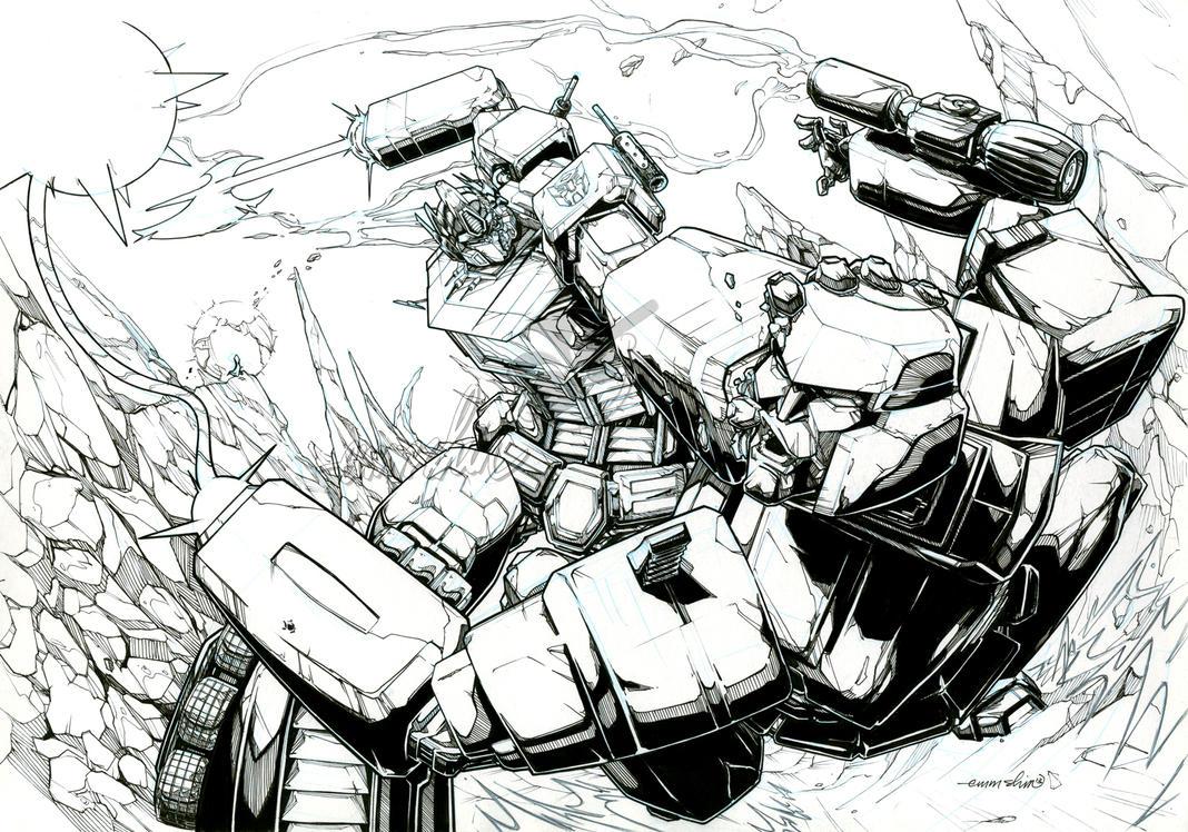 Optimus Prime vs. Megatron (lineart) by emmshin