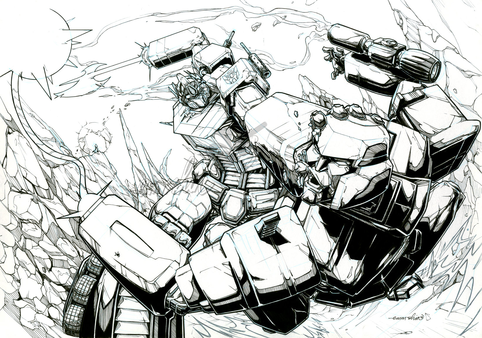 Optimus Prime vs. Megatron (lineart) by emmshin