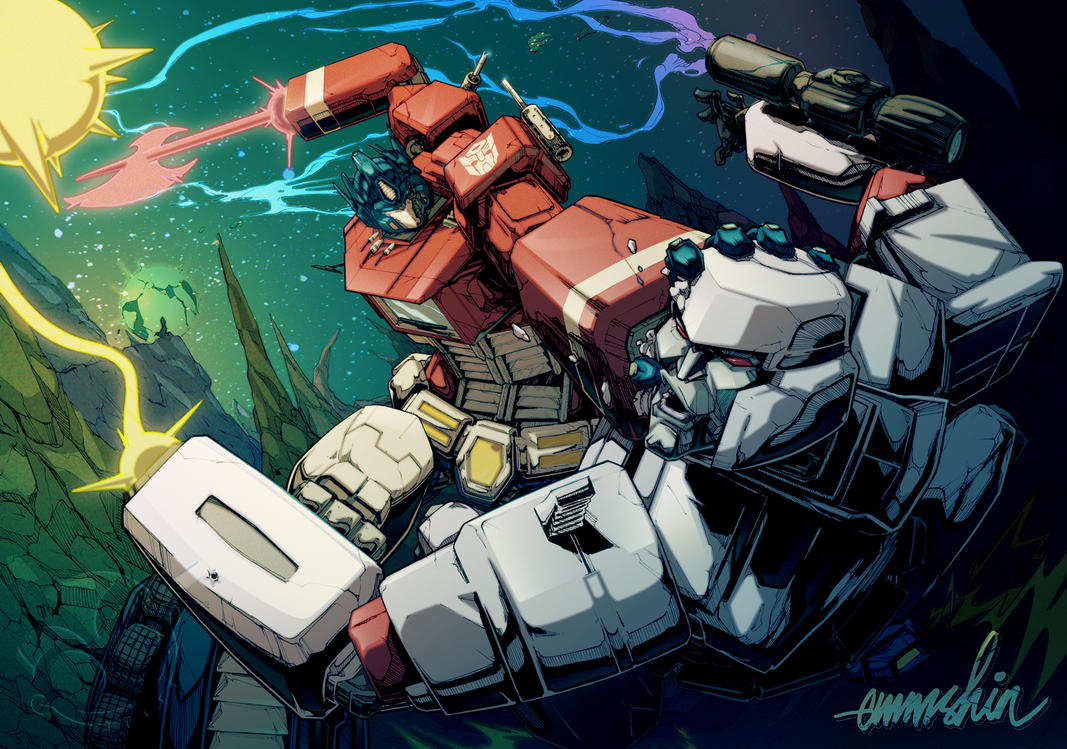 Optimus Prime vs. Megatron by emmshin