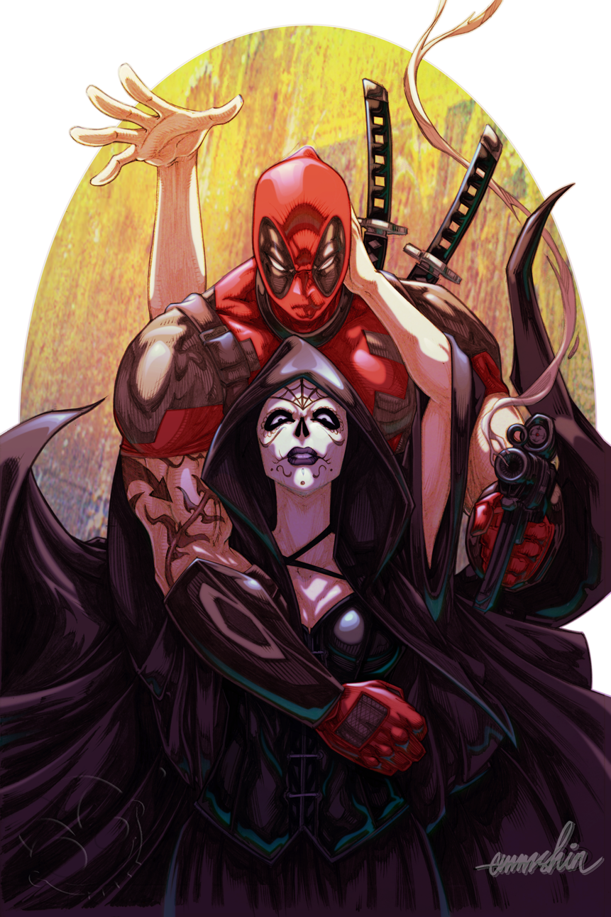 Deadpool And Mistress Death Commission By Emmshin On Deviantart