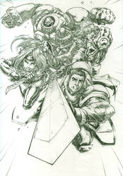 Battle Chasers (pencils) by emmshin