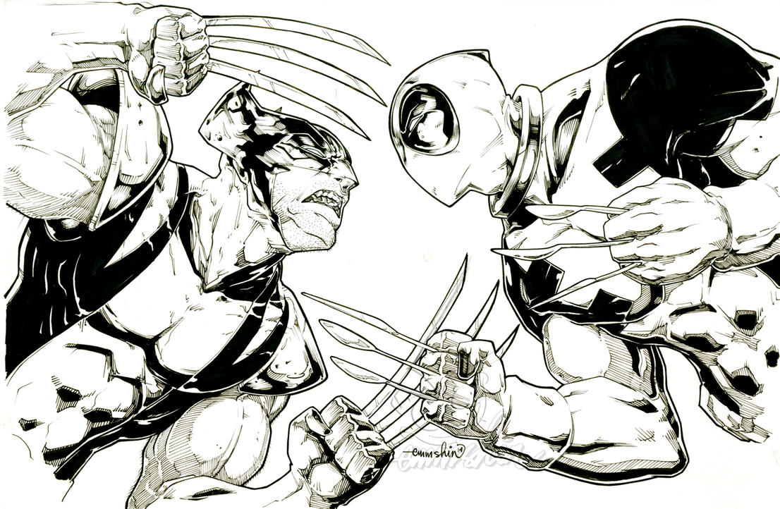Wolverine Vs Deadpool (commission(inks)) by emmshin