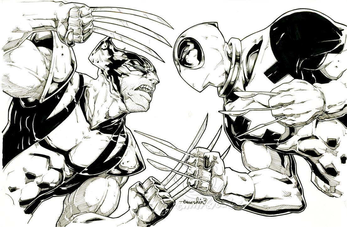 Wolverine Vs Deadpool (commission(inks)) by emmshin